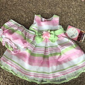 Green, pink, white formal dress. 12 mo